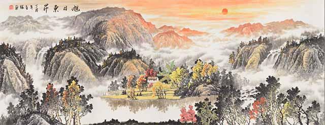 阳泉迎客松全瓷壁画厂家 艺林瓷砖壁画供应