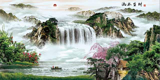 烟台山水全瓷壁画定做 艺林瓷砖壁画供应