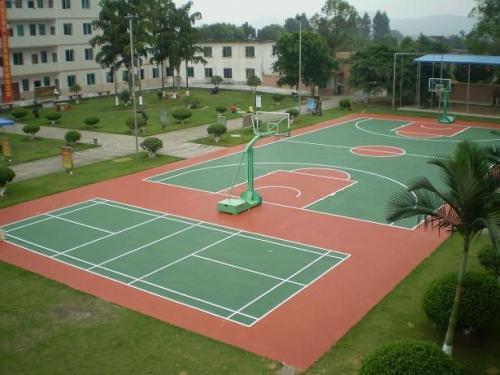 柳州正规硅PU篮球场材料,硅PU篮球场