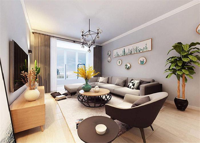 喜欢查看装修效果图案例乳白色布艺软包沙发棕色烤漆玻璃此客厅