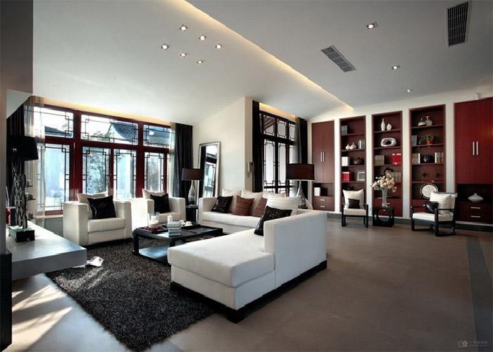 109人点击/喜欢查看案例小户型客厅摆放植绒布沙发装修效狭小客厅神秘