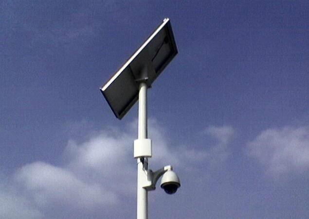 山東小型太陽能監控桿支架 山東圖景照明工程供應