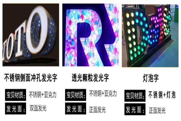 丽江正发光字平面发光字价格,正发光字