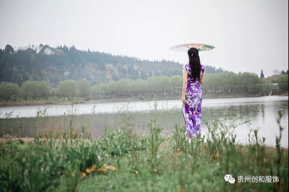 旗袍文字风景图片