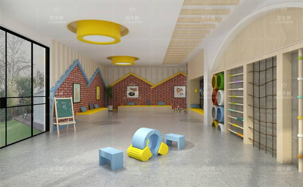 在幼儿园设计上摒弃传统的设计风格进而大胆的采用后现代主义设计的手法,在幼儿园室内设计上有这属于自己的独特风格。 这是最直观的地方,也是最重要的一个环节,孩子们们一般都是在地面上活动,因而,它的科学性与艺术性都格外关键,选择地面材料的时候应当考虑其是否保暖、耐磨、耐腐蚀、隔音,同时还应符合幼儿的审美要求,让地面与整体可以融为一体。