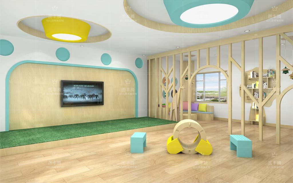 幼儿园装修风格1、简欧风格: 幼儿园如果采用欧式装修,一定是那种简欧风格。简单的吊顶造型,相对简单的线条。体现出整个幼儿园的层次即可。过于复杂的造型,分散幼儿的注意力,影响老师的授课。 幼儿园装修风格2、主题展现风格: 主题展现风格幼儿园的所有主题展现,就是在幼儿园装修设计中,运用顶面和墙面的造型营造出一种童话般的世界或一种意境。