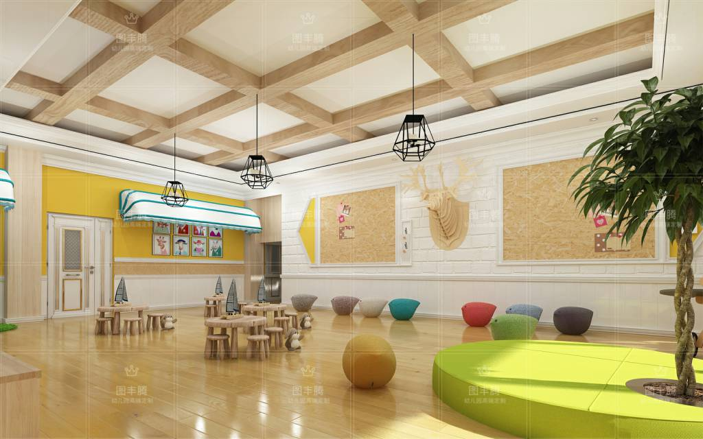 幼儿园大厅装饰在幼儿园设计上摒弃传统的设计风格进而大胆的采用后现代主义设计的手法,在幼儿园室内设计上有这属于自己的独特风格。 这是最直观的地方,也是最重要的一个环节,孩子们们一般都是在地面上活动,因而,它的科学性与艺术性都格外关键,选择地面材料的时候应当考虑其是否保暖、耐磨、耐腐蚀、隔音,同时还应符合幼儿的审美要求,让地面与整体可以融为一体。 设计从整体到局部,一方面保留了材质、色彩的大致风格,摒弃过于复杂的肌理和装饰,简化线条展示出精妙的设计特色,凸显出极高的艺术品位与设计美感。 以培养孩子综合能力,