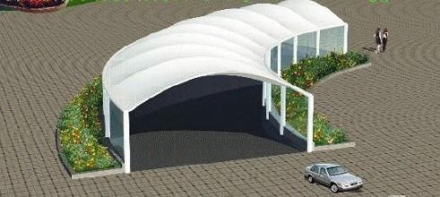 园区膜结构汽车棚棚,膜结构汽车棚