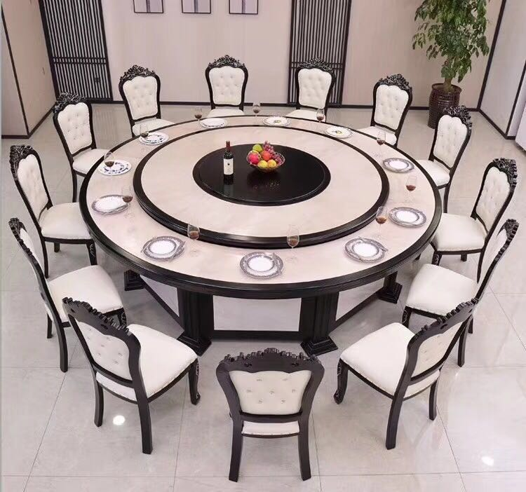 酒店餐桌电动大圆桌现代简约火锅桌饭店20人仿大理石大圆餐桌2.jpg