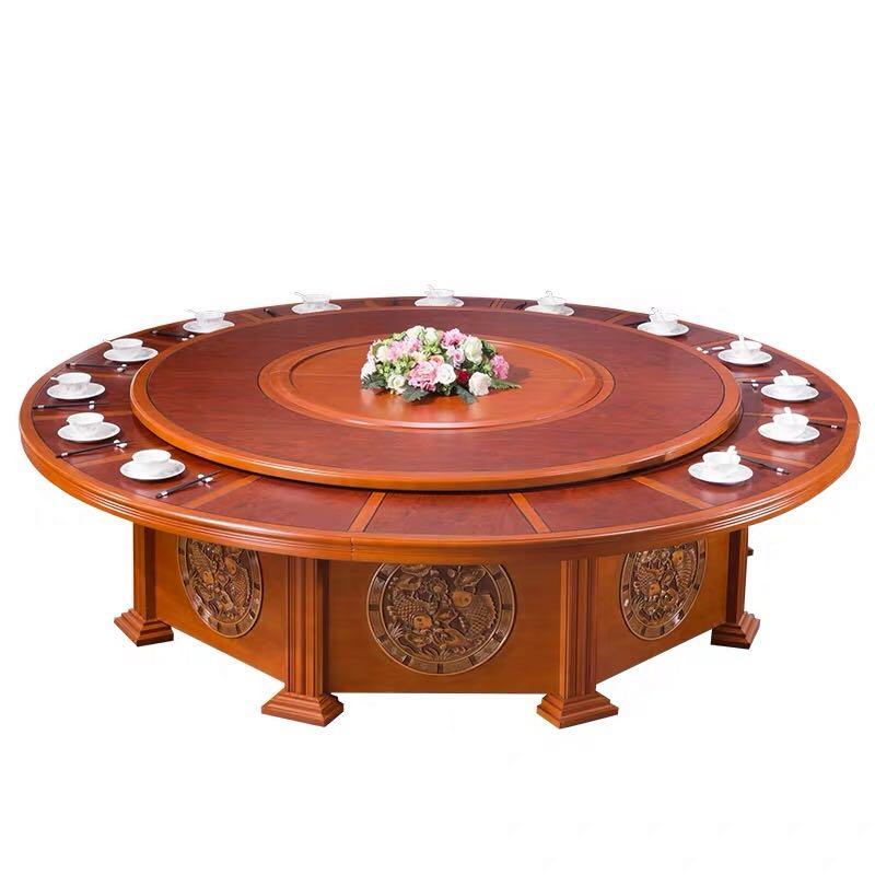 酒店电动桌大圆桌古典实木旋转带盘20人饭店火锅桌椅3.jpg
