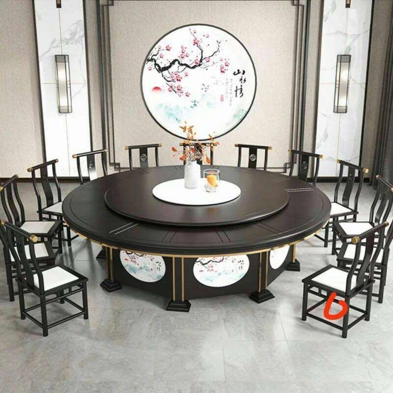 酒店大圓桌電動餐桌飯店桌椅16-20人大理石自動轉盤1.jpg