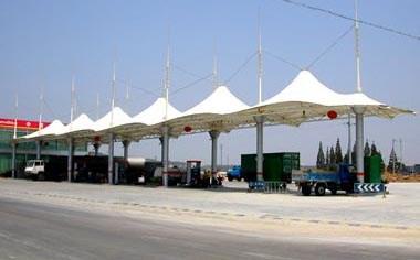 武汉膜结构加油站工程,膜结构加油站