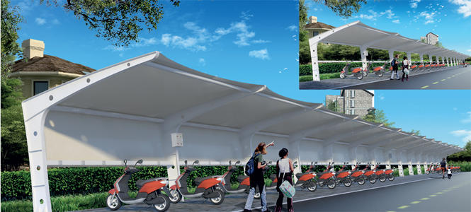 宜昌膜结构自行车棚施工,膜结构自行车棚