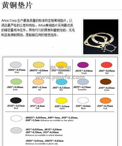 有色塑料垫片品牌 Artus Corp垫片 中国区代理商
