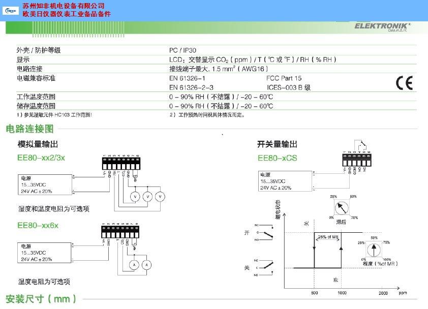 苏州工业温湿度表温湿度传感器价格 推荐咨询 苏州知非机电设备供应