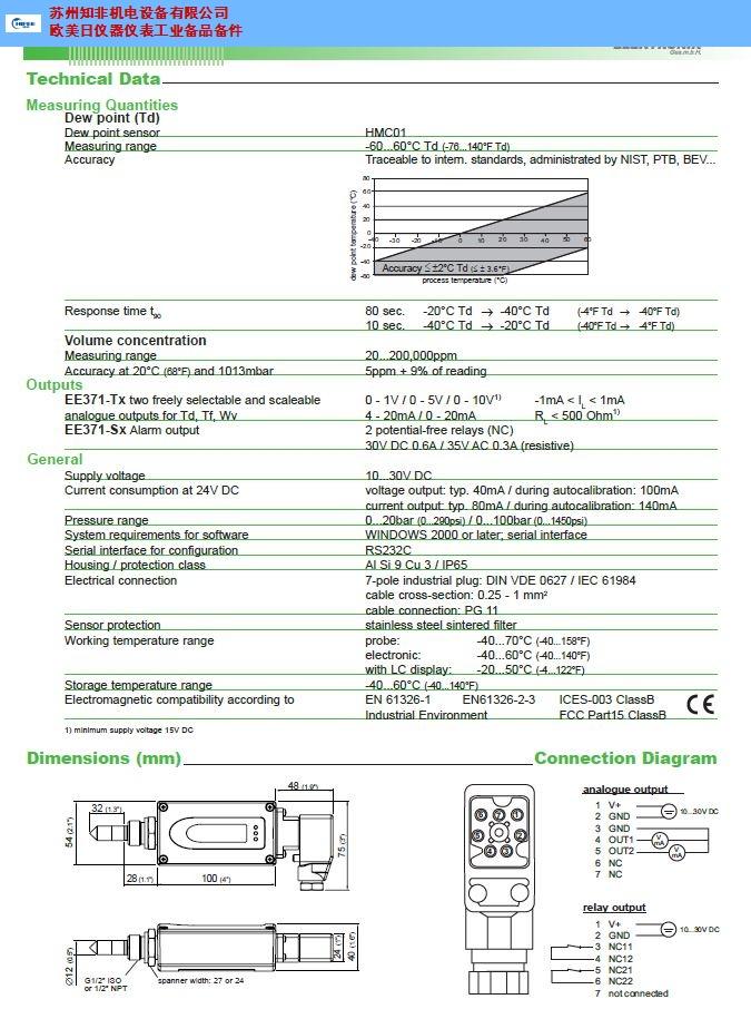 苏州电子温湿度计温湿度传感器原装进口 诚信经营 苏州知非机电设备供应