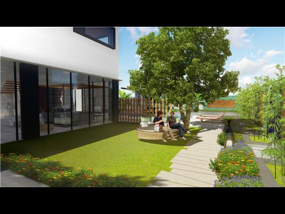 宁波中式别墅庭院设计效果案例,庭院设计