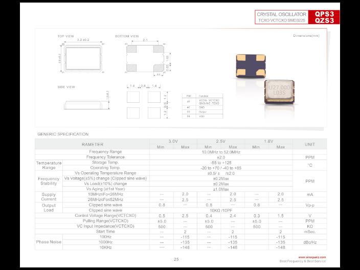 合肥贴片晶体振荡器 欢迎咨询 苏州奥泰克电子科技供应